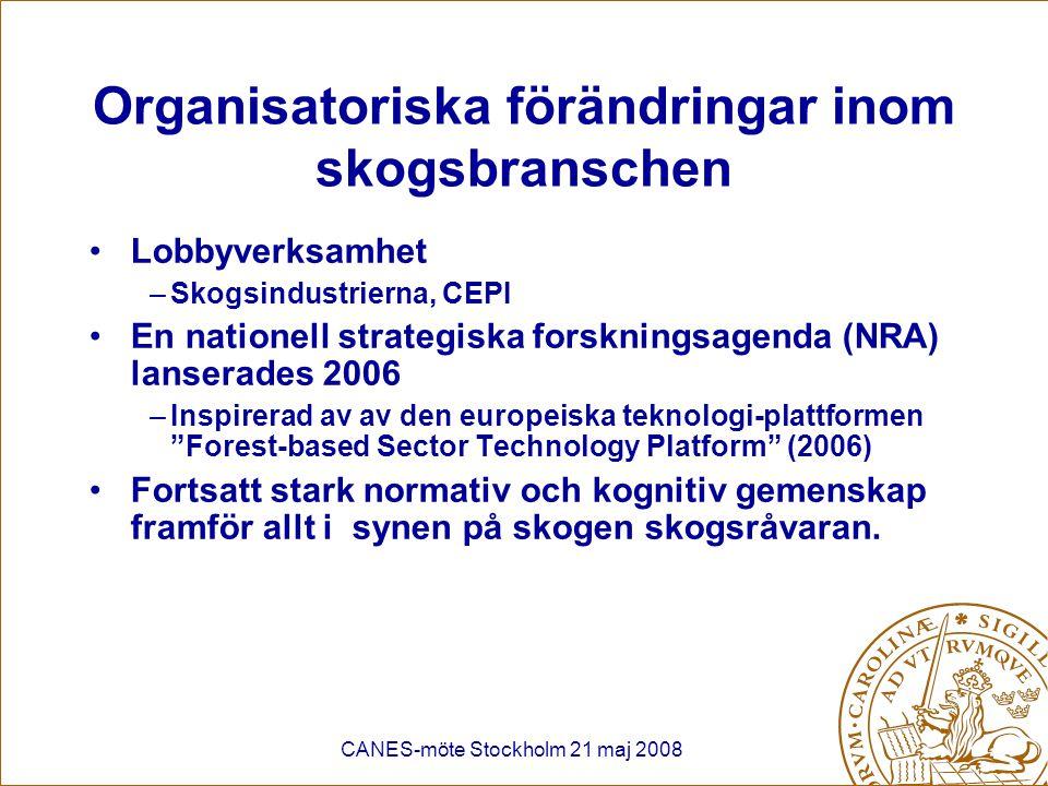 Organisatoriska förändringar inom skogsbranschen