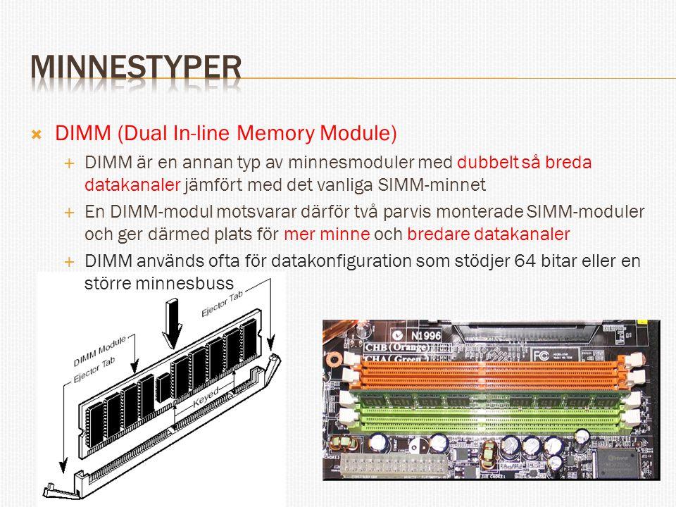 minnestyper DIMM (Dual In-line Memory Module)