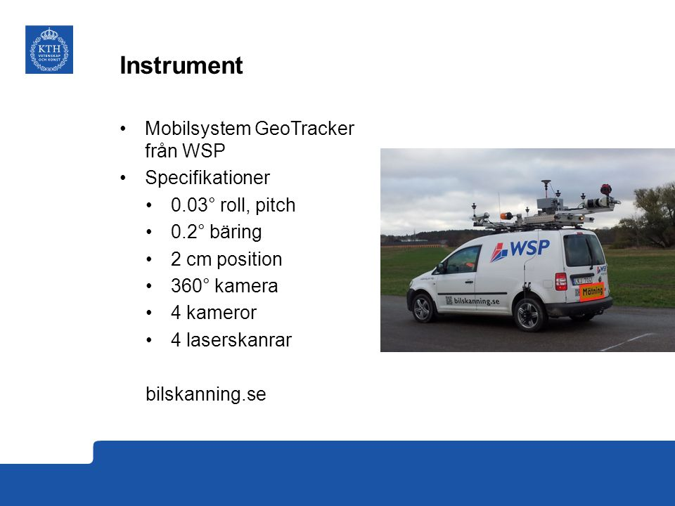Instrument Mobilsystem GeoTracker från WSP Specifikationer