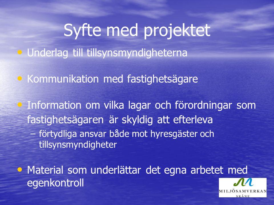 Syfte med projektet Underlag till tillsynsmyndigheterna