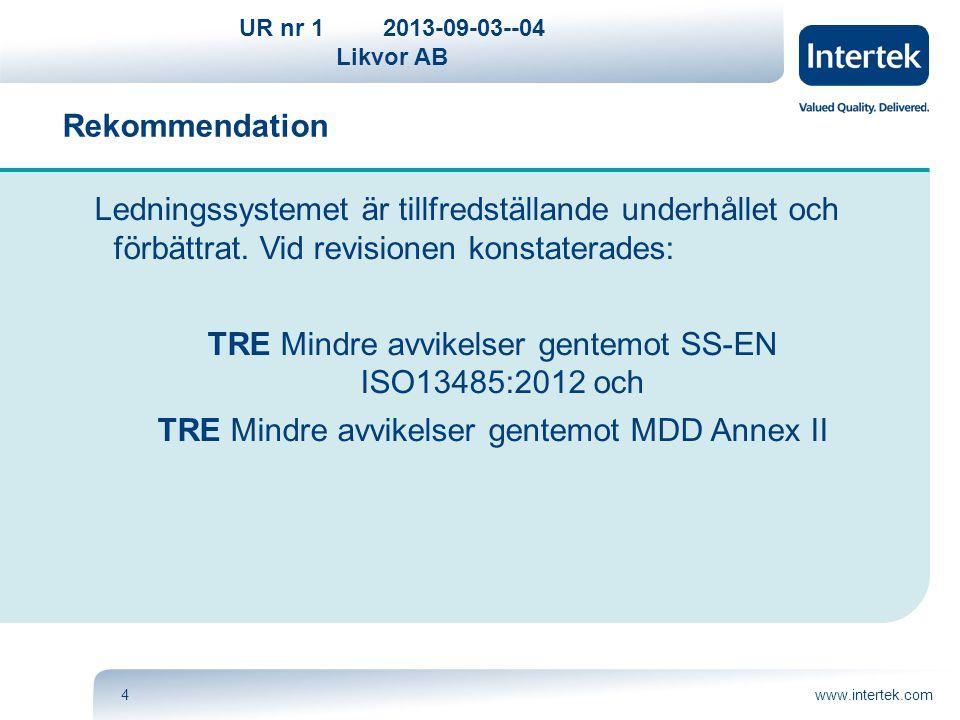 TRE Mindre avvikelser gentemot SS-EN ISO13485:2012 och
