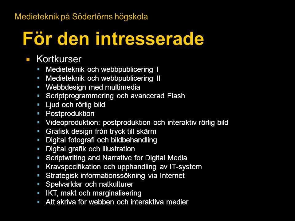 För den intresserade Kortkurser Medieteknik på Södertörns högskola