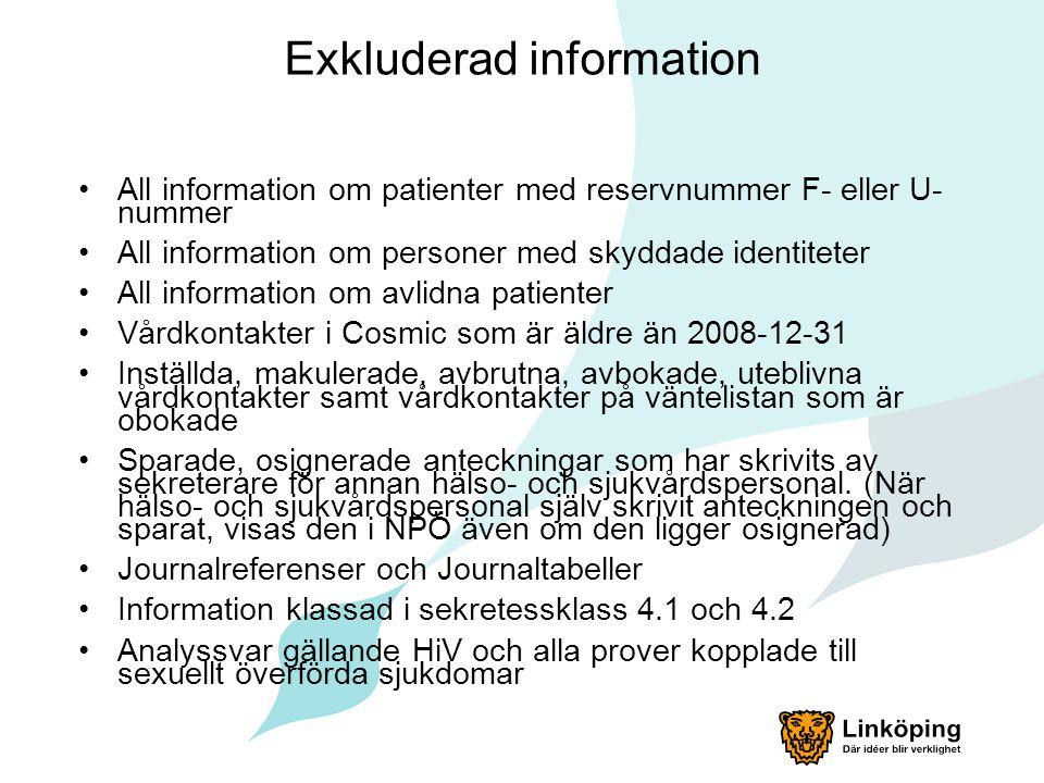 Exkluderad information