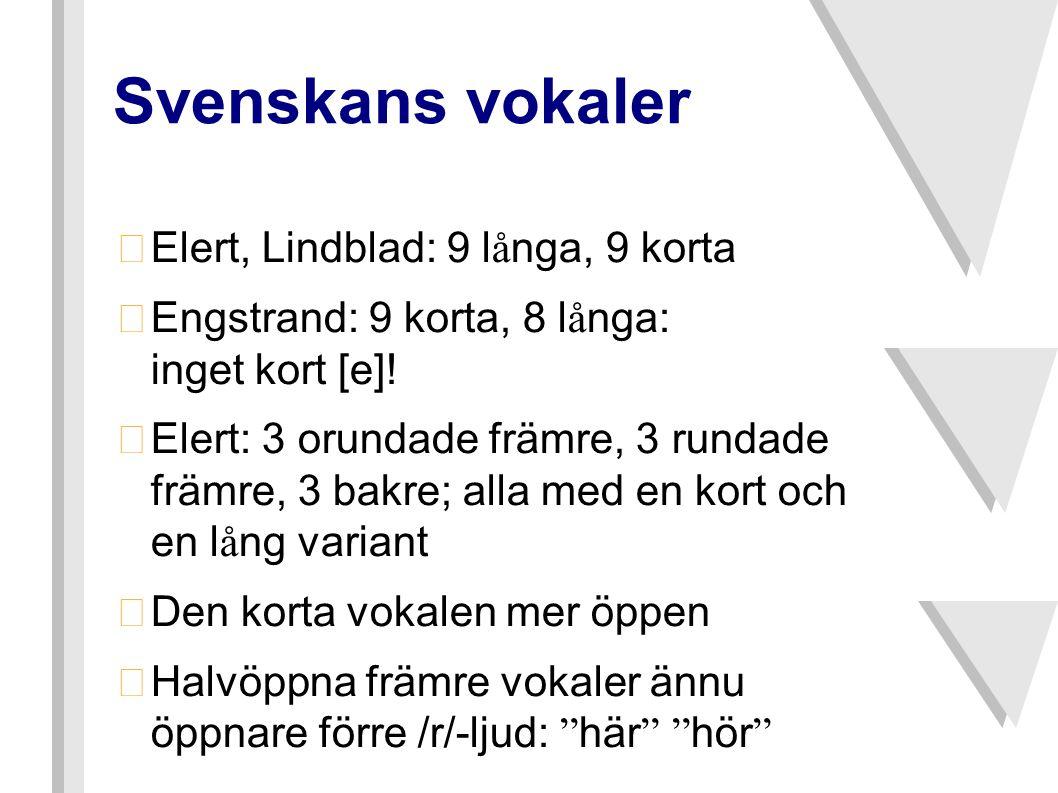 Svenskans vokaler Elert, Lindblad: 9 långa, 9 korta