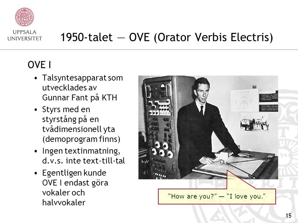 1950-talet — OVE (Orator Verbis Electris)