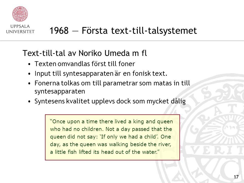 1968 — Första text-till-talsystemet