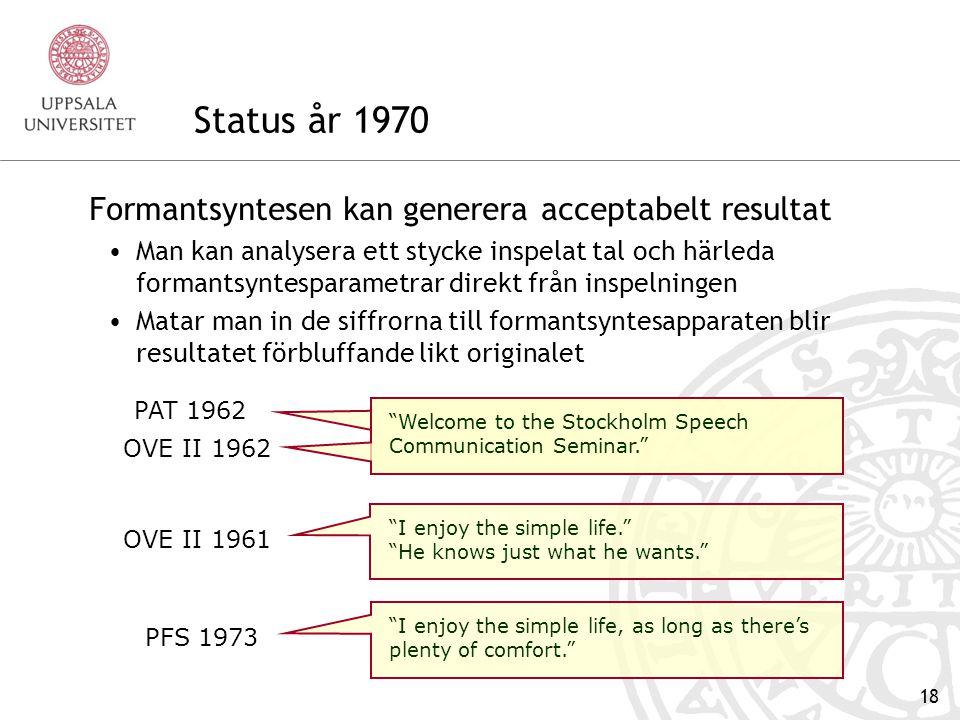 Status år 1970 Formantsyntesen kan generera acceptabelt resultat