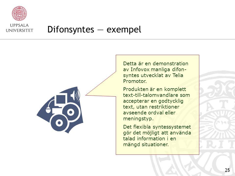 Difonsyntes — exempel Detta är en demonstration av Infovox manliga difon-syntes utvecklat av Telia Promotor.