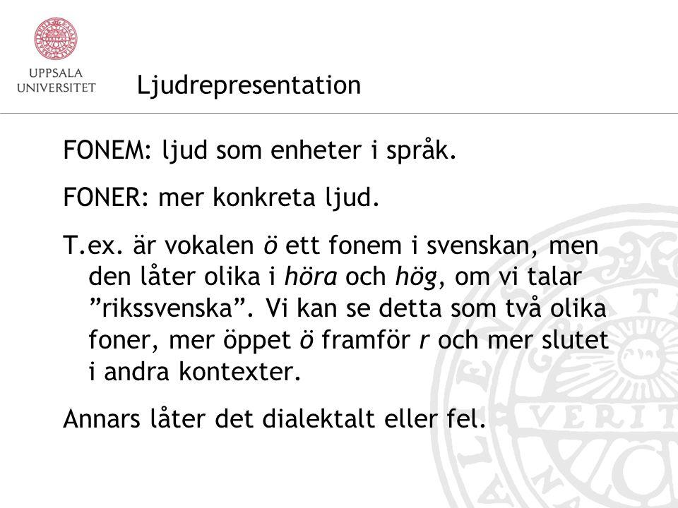 Ljudrepresentation FONEM: ljud som enheter i språk. FONER: mer konkreta ljud.