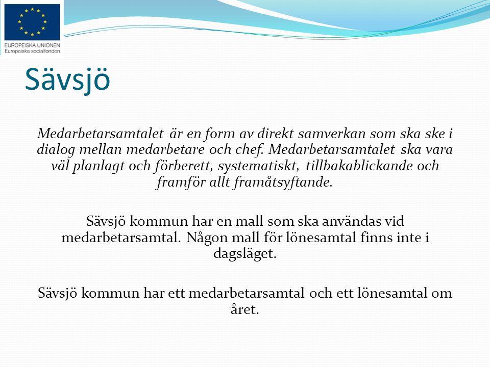 Sävsjö kommun har ett medarbetarsamtal och ett lönesamtal om året.