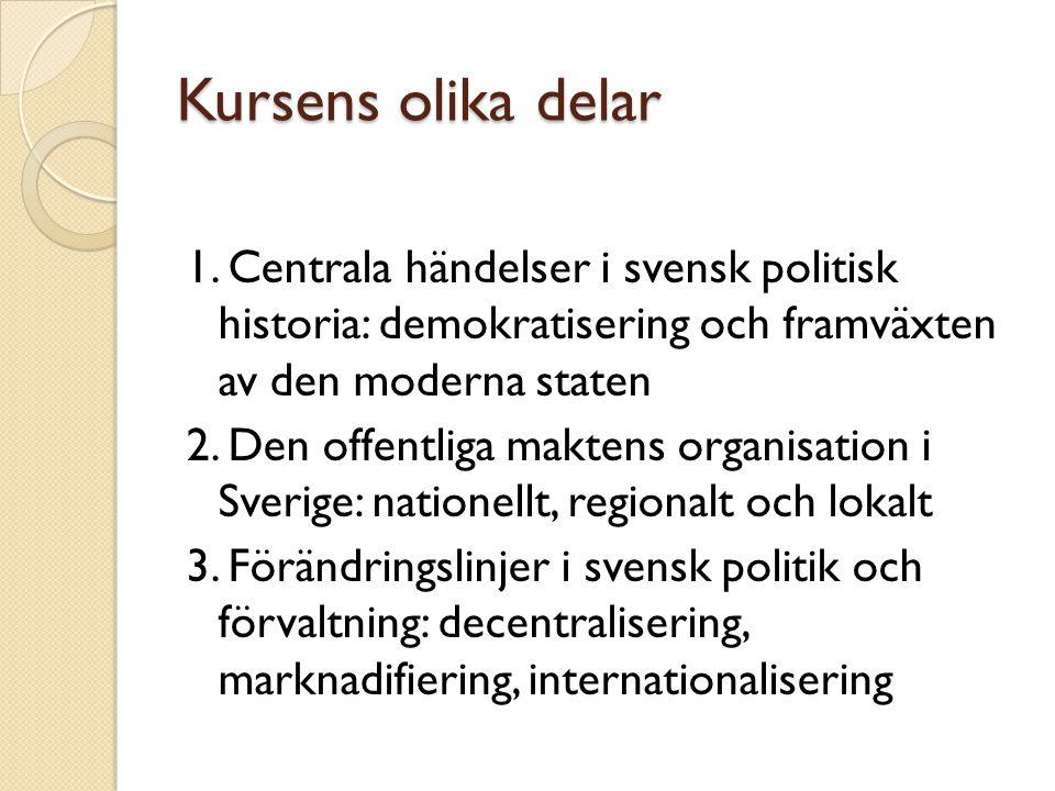 Kursens olika delar 1. Centrala händelser i svensk politisk historia: demokratisering och framväxten av den moderna staten.