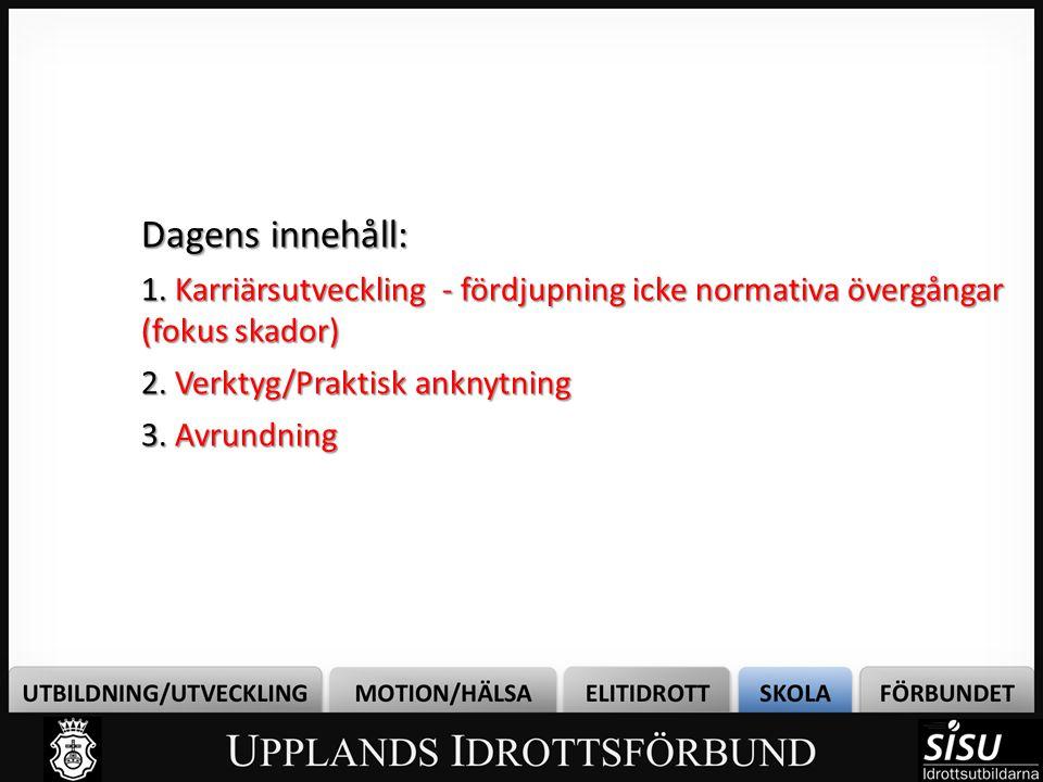 Bild 2 Dagens innehåll: 1. Karriärsutveckling - fördjupning icke normativa övergångar (fokus skador)