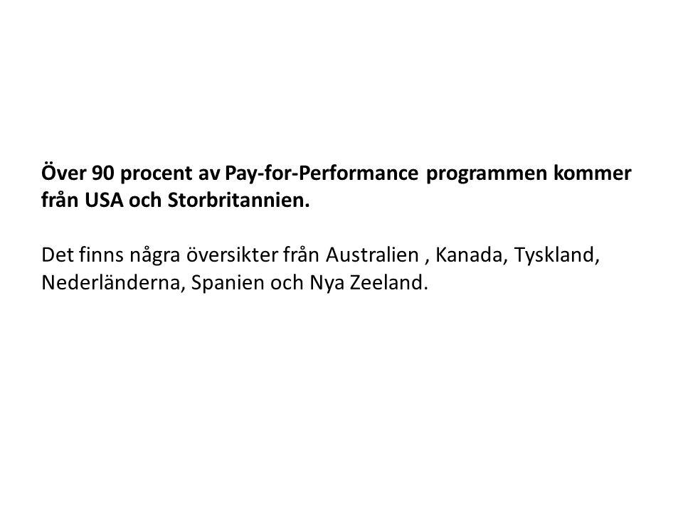 Över 90 procent av Pay-for-Performance programmen kommer från USA och Storbritannien. Det finns några översikter från Australien , Kanada, Tyskland, Nederländerna, Spanien och Nya Zeeland.