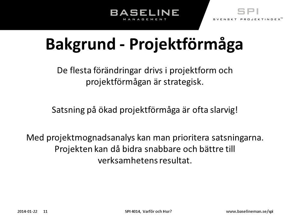 Bakgrund - Projektförmåga