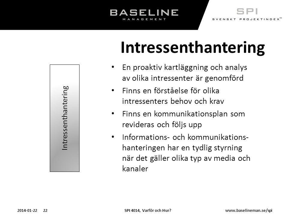 Intressenthantering En proaktiv kartläggning och analys av olika intressenter är genomförd.