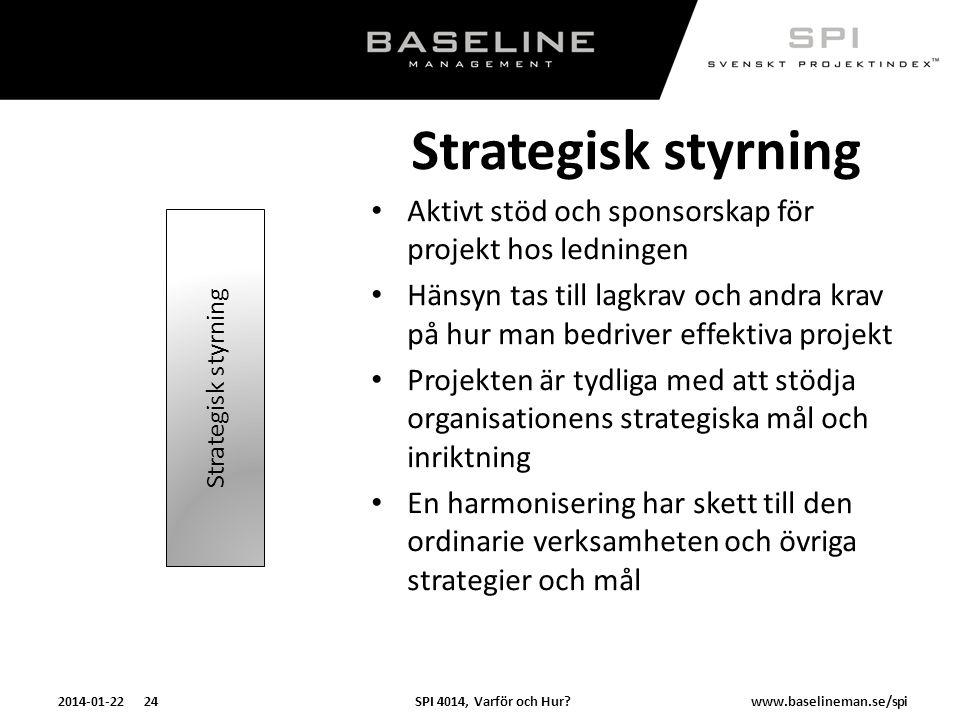 Strategisk styrning Aktivt stöd och sponsorskap för projekt hos ledningen.
