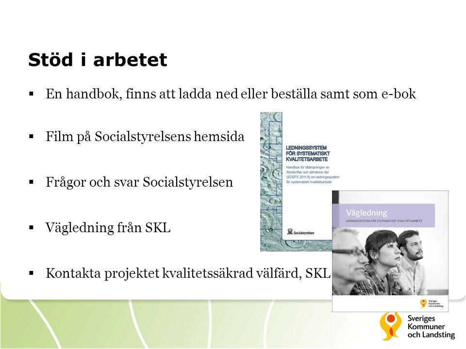 Stöd i arbetet En handbok, finns att ladda ned eller beställa samt som e-bok. Film på Socialstyrelsens hemsida.