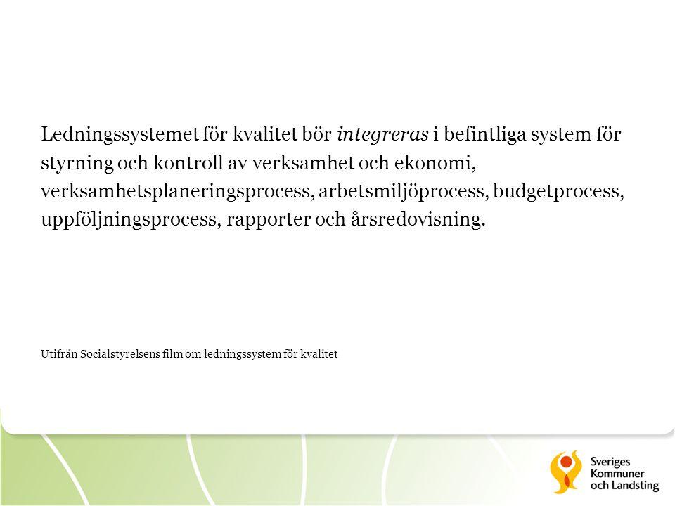 Ledningssystemet för kvalitet bör integreras i befintliga system för styrning och kontroll av verksamhet och ekonomi, verksamhetsplaneringsprocess, arbetsmiljöprocess, budgetprocess, uppföljningsprocess, rapporter och årsredovisning.