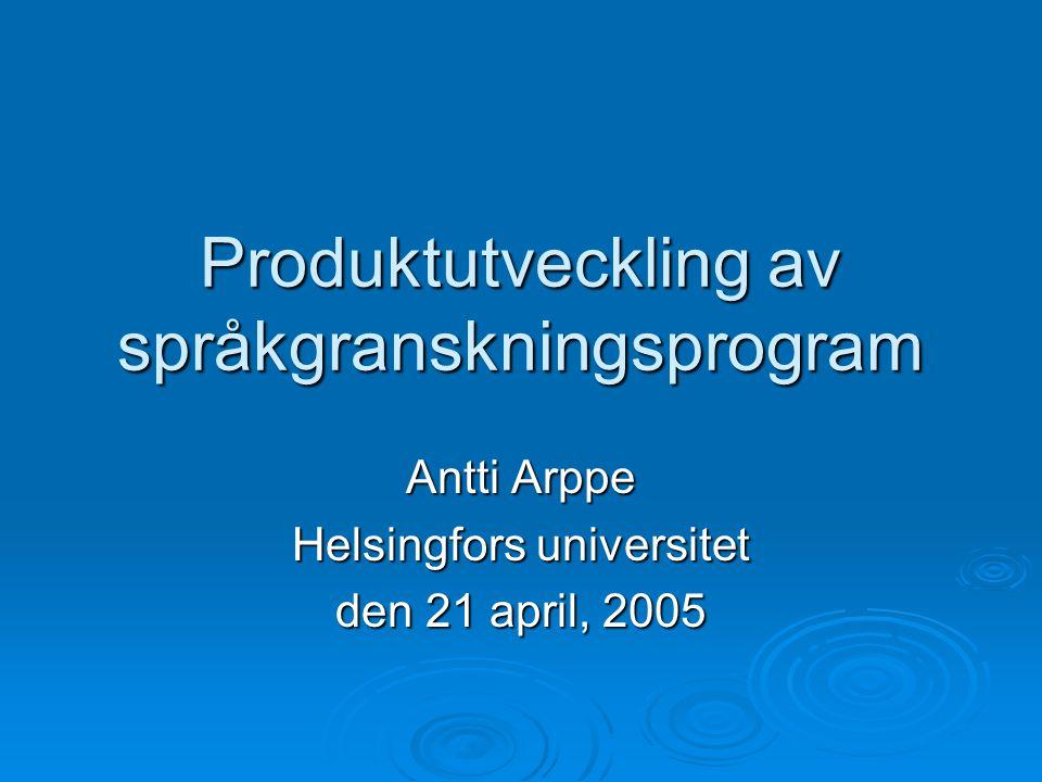 Produktutveckling av språkgranskningsprogram