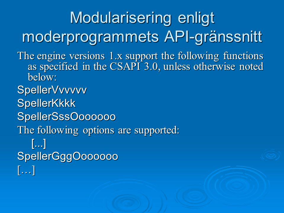Modularisering enligt moderprogrammets API-gränssnitt