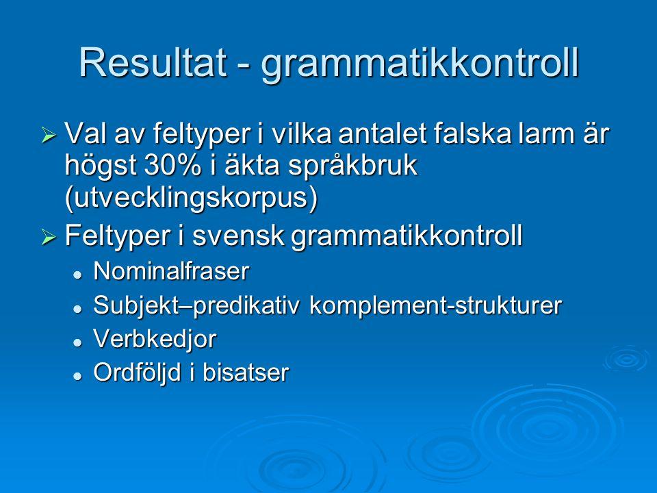Resultat - grammatikkontroll