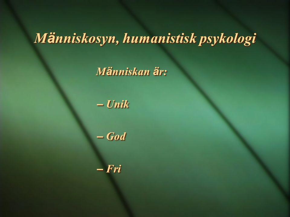 Människosyn, humanistisk psykologi