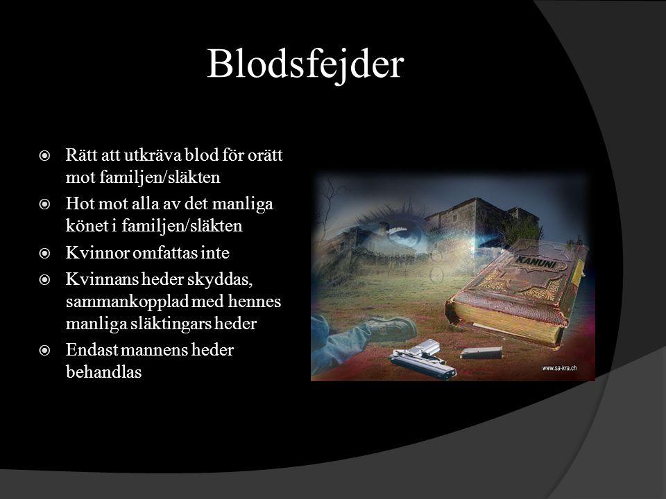 Blodsfejder Rätt att utkräva blod för orätt mot familjen/släkten