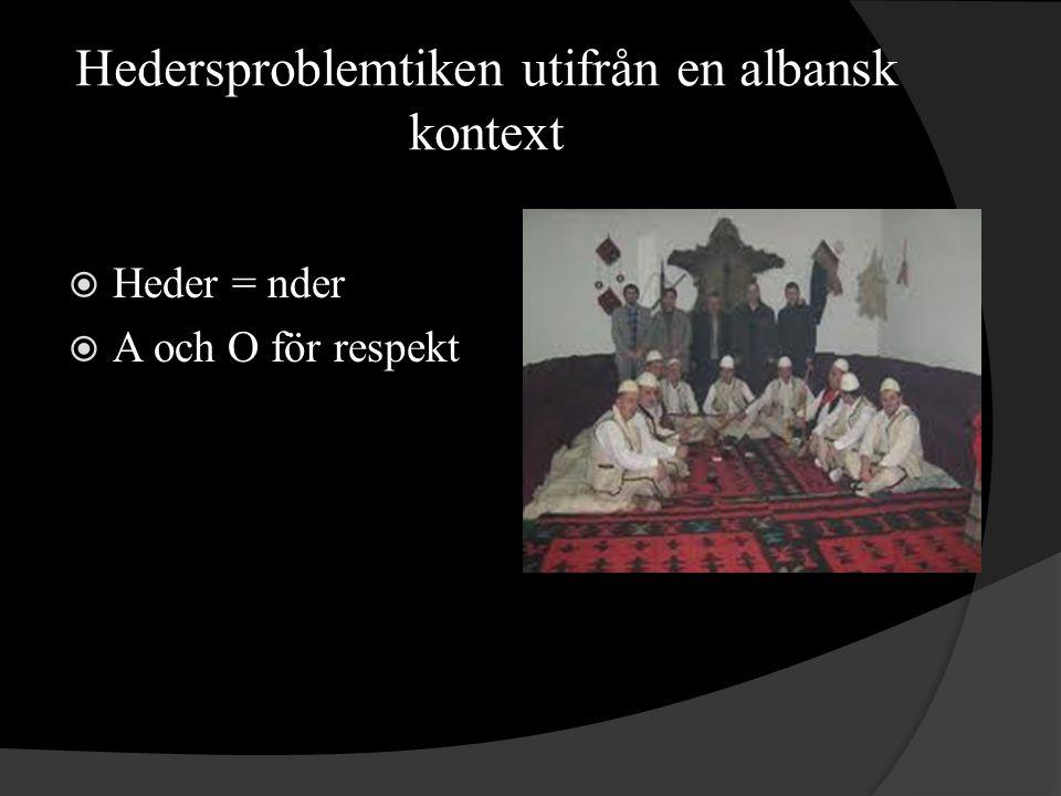 Hedersproblemtiken utifrån en albansk kontext