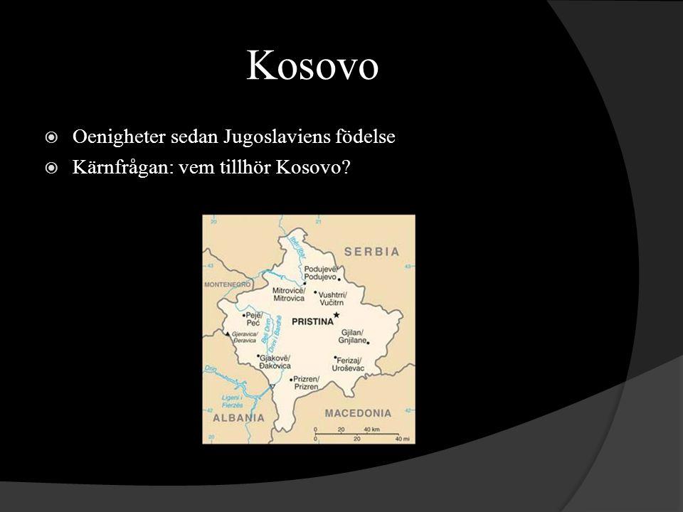 Kosovo Oenigheter sedan Jugoslaviens födelse