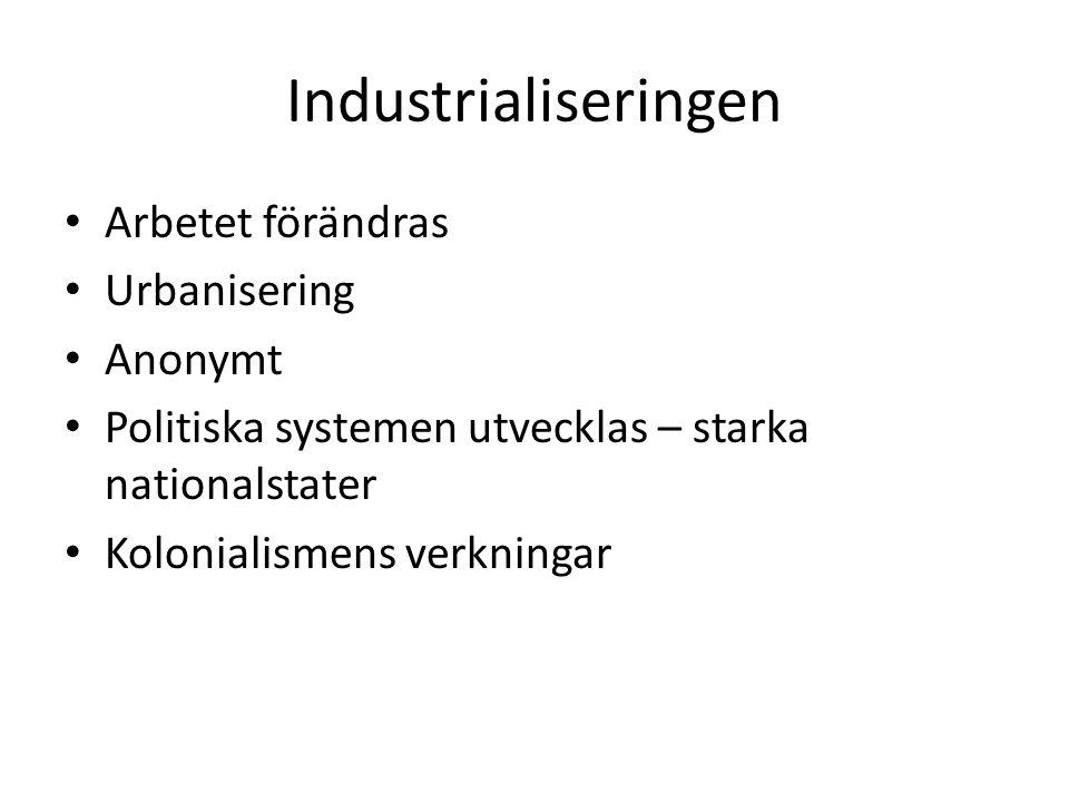 Industrialiseringen Arbetet förändras Urbanisering Anonymt