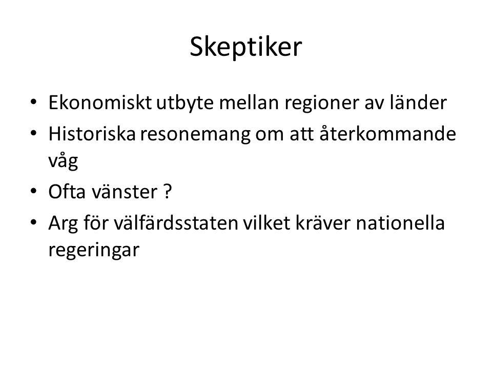 Skeptiker Ekonomiskt utbyte mellan regioner av länder