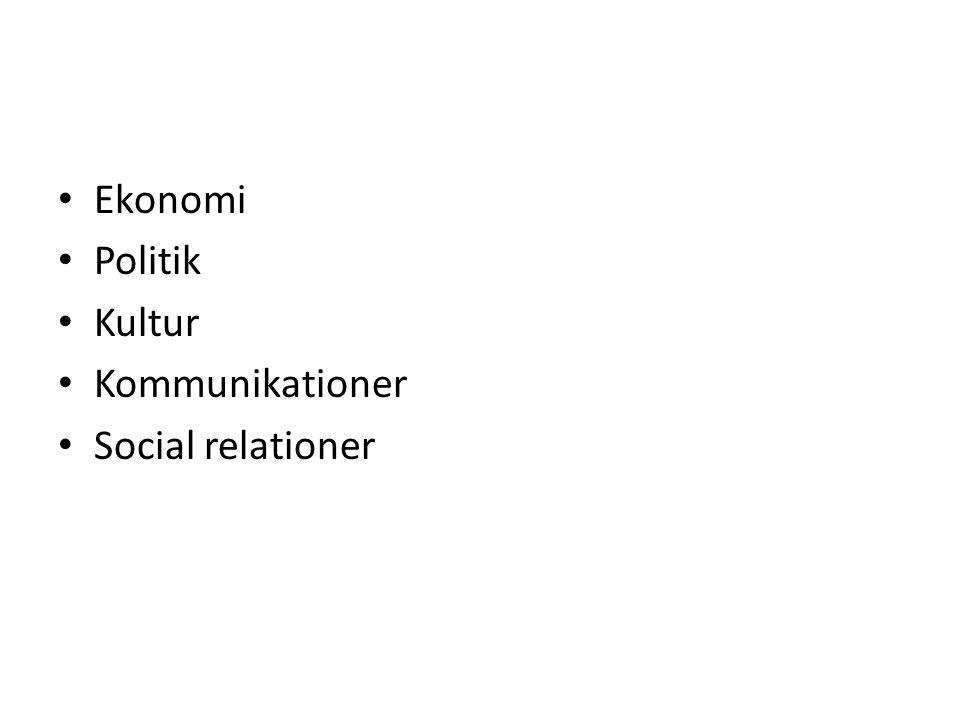Ekonomi Politik Kultur Kommunikationer Social relationer