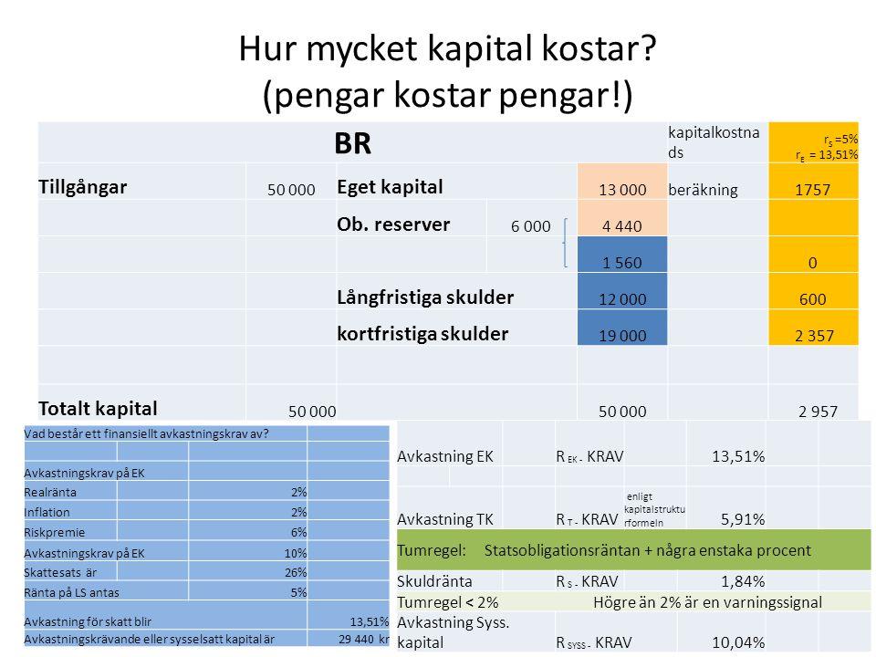 Hur mycket kapital kostar (pengar kostar pengar!)