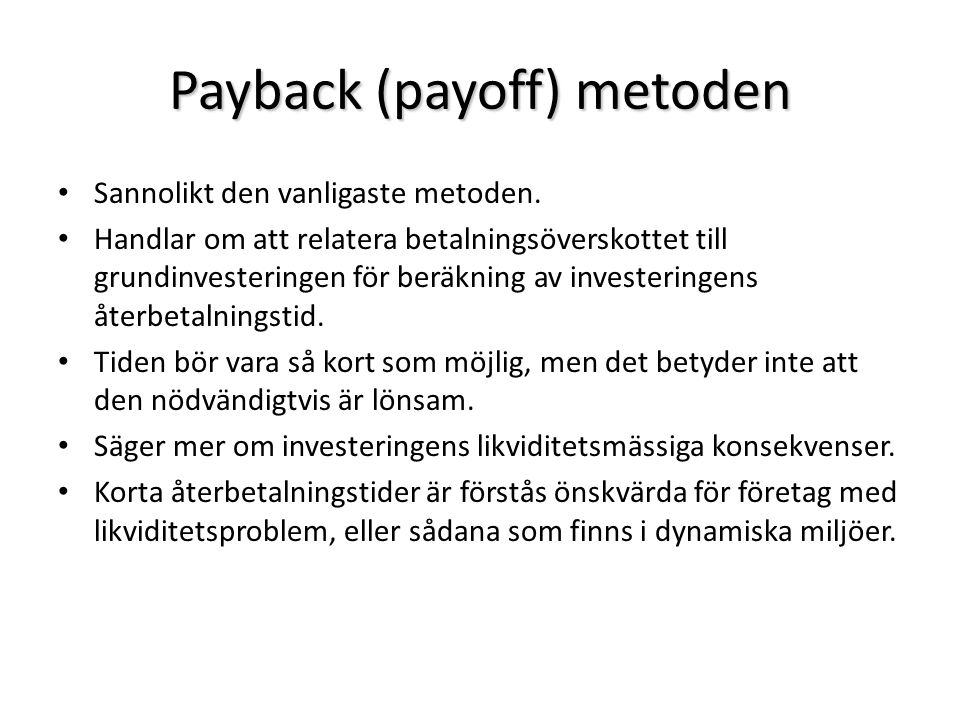 Payback (payoff) metoden