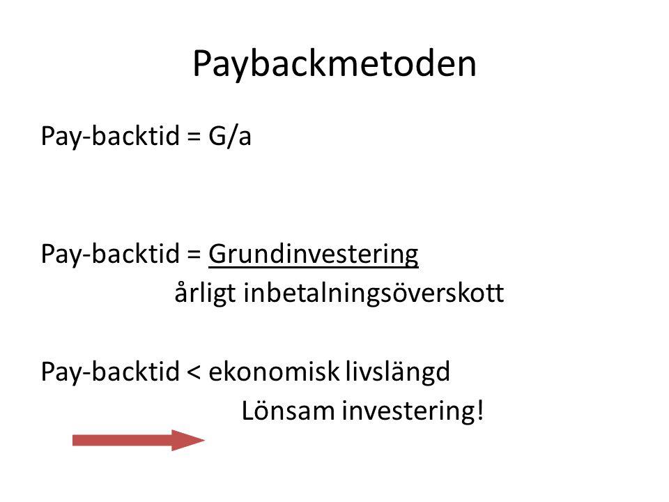 Paybackmetoden Pay-backtid = G/a Pay-backtid = Grundinvestering