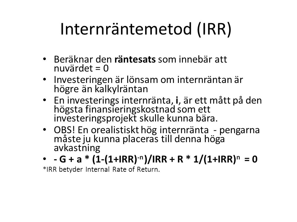 Internräntemetod (IRR)