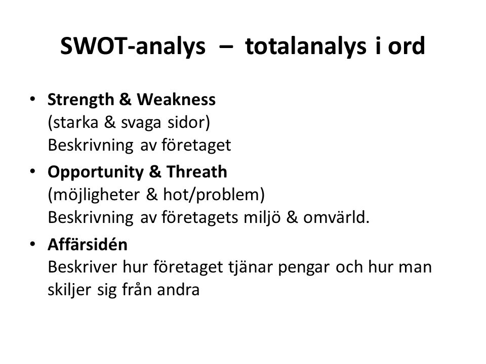 SWOT-analys – totalanalys i ord