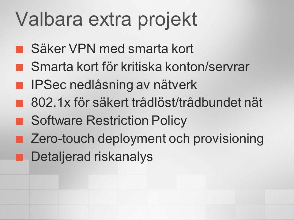 Valbara extra projekt Säker VPN med smarta kort