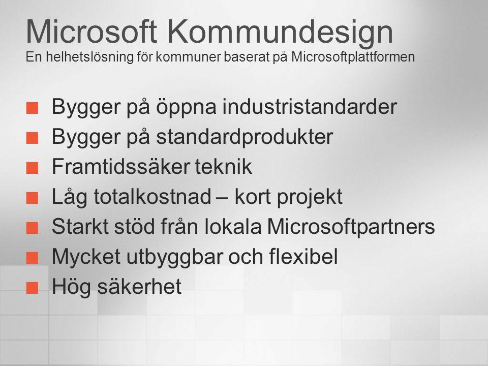 Microsoft Kommundesign En helhetslösning för kommuner baserat på Microsoftplattformen