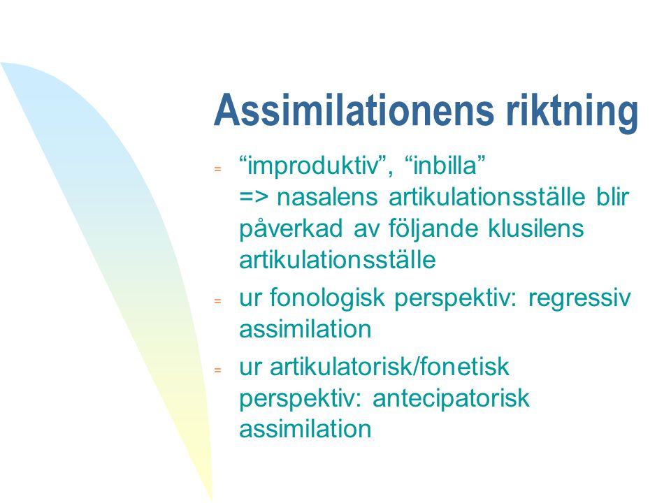 Assimilationens riktning