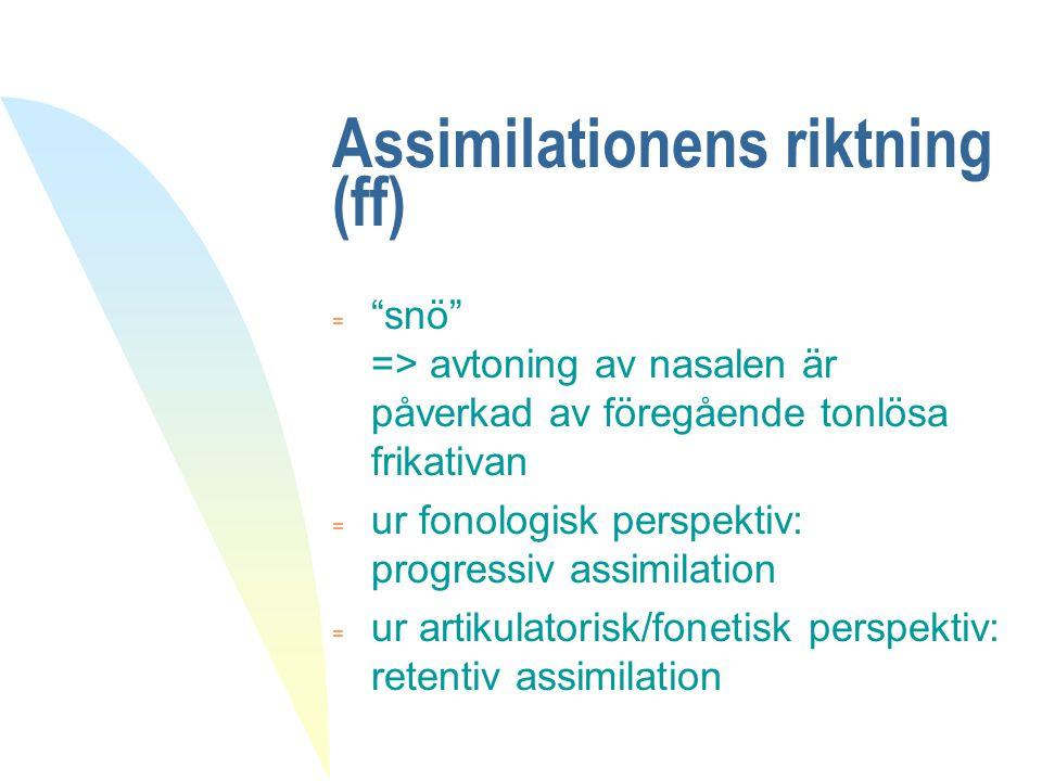 Assimilationens riktning (ff)