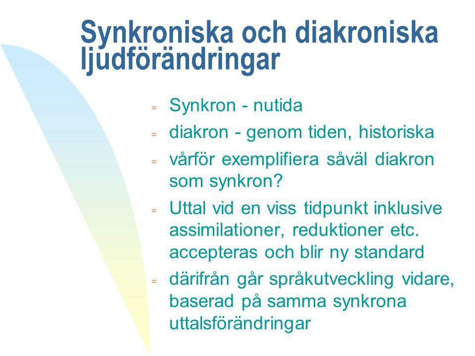 Synkroniska och diakroniska ljudförändringar