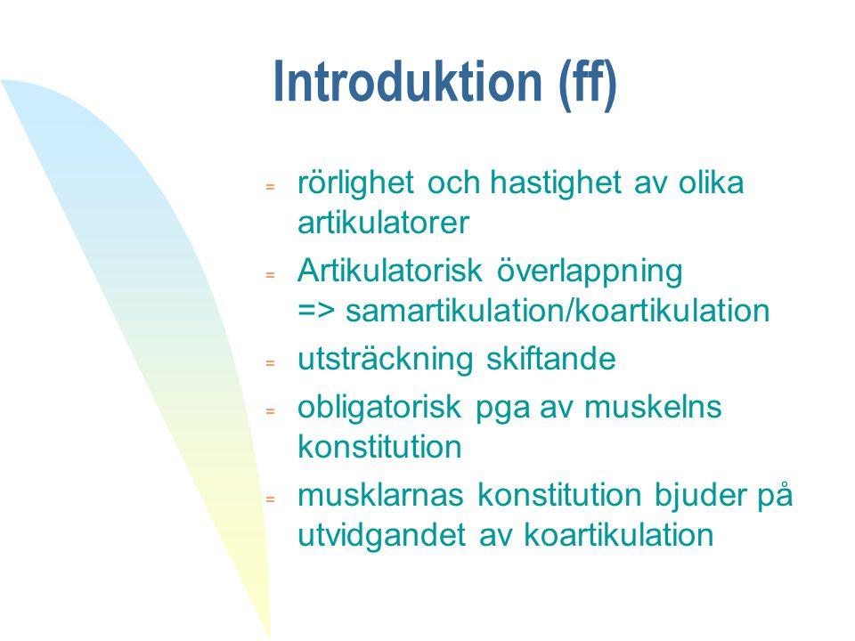 Introduktion (ff) rörlighet och hastighet av olika artikulatorer