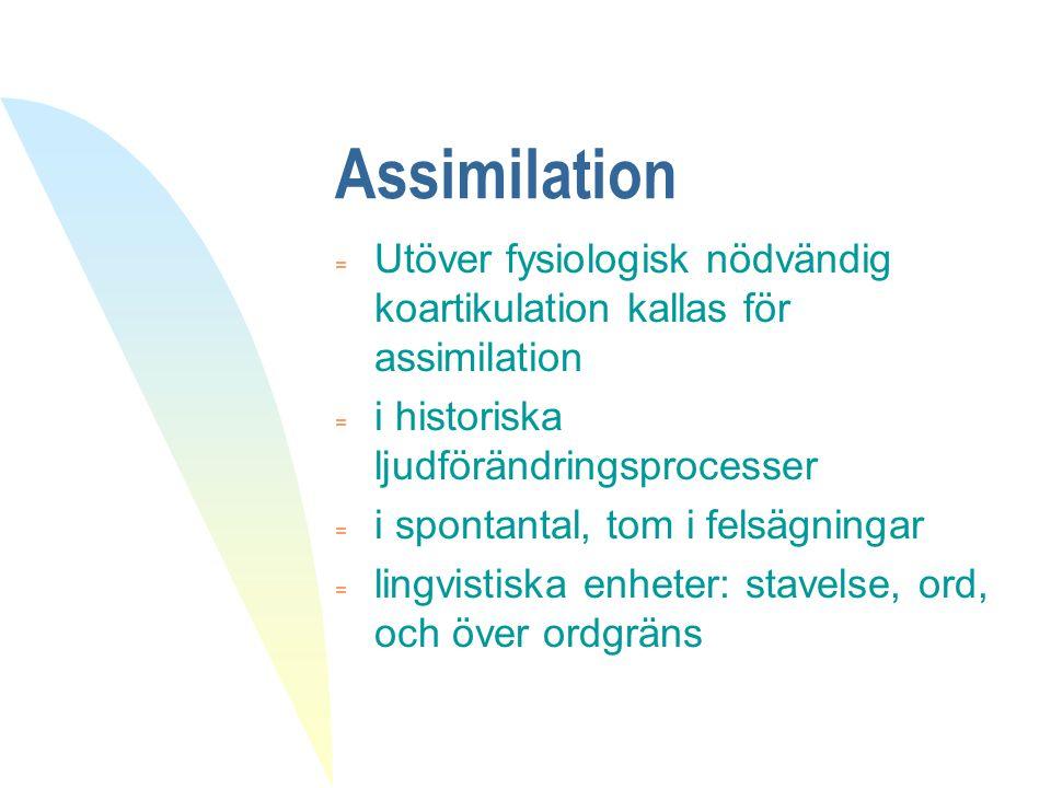 Assimilation Utöver fysiologisk nödvändig koartikulation kallas för assimilation. i historiska ljudförändringsprocesser.