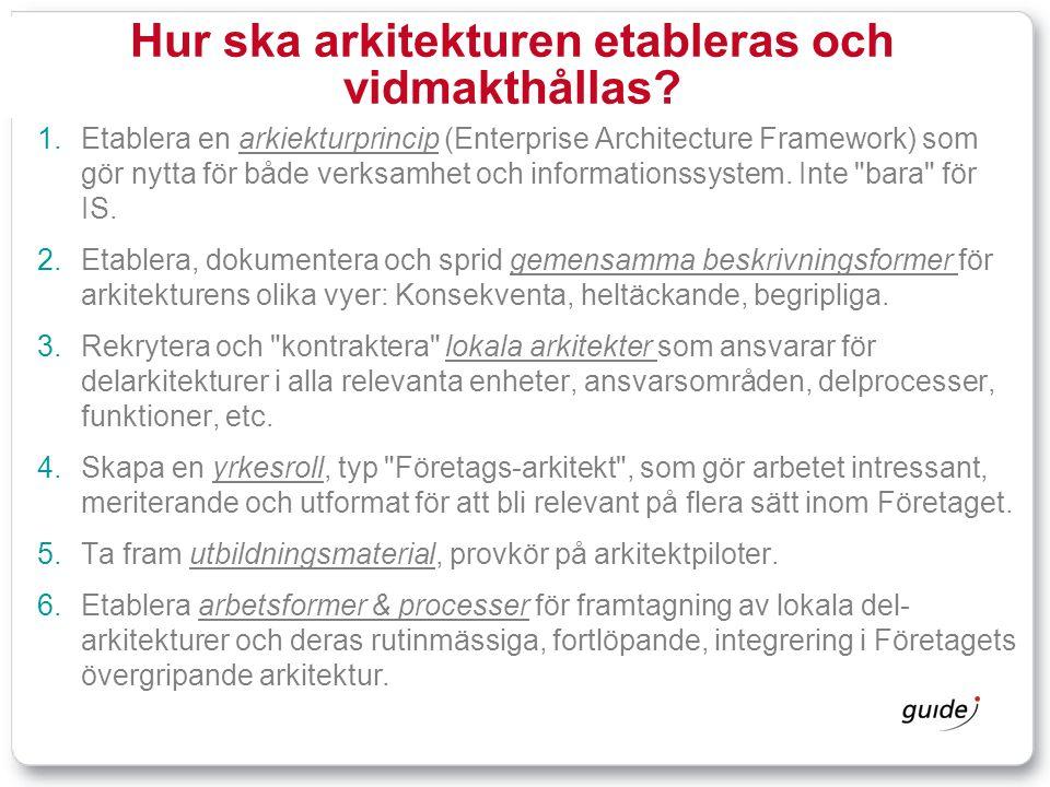 Hur ska arkitekturen etableras och vidmakthållas
