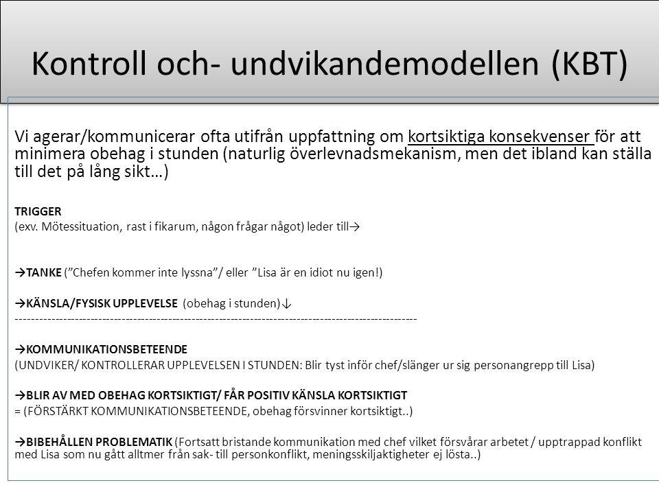 Kontroll och- undvikandemodellen (KBT)