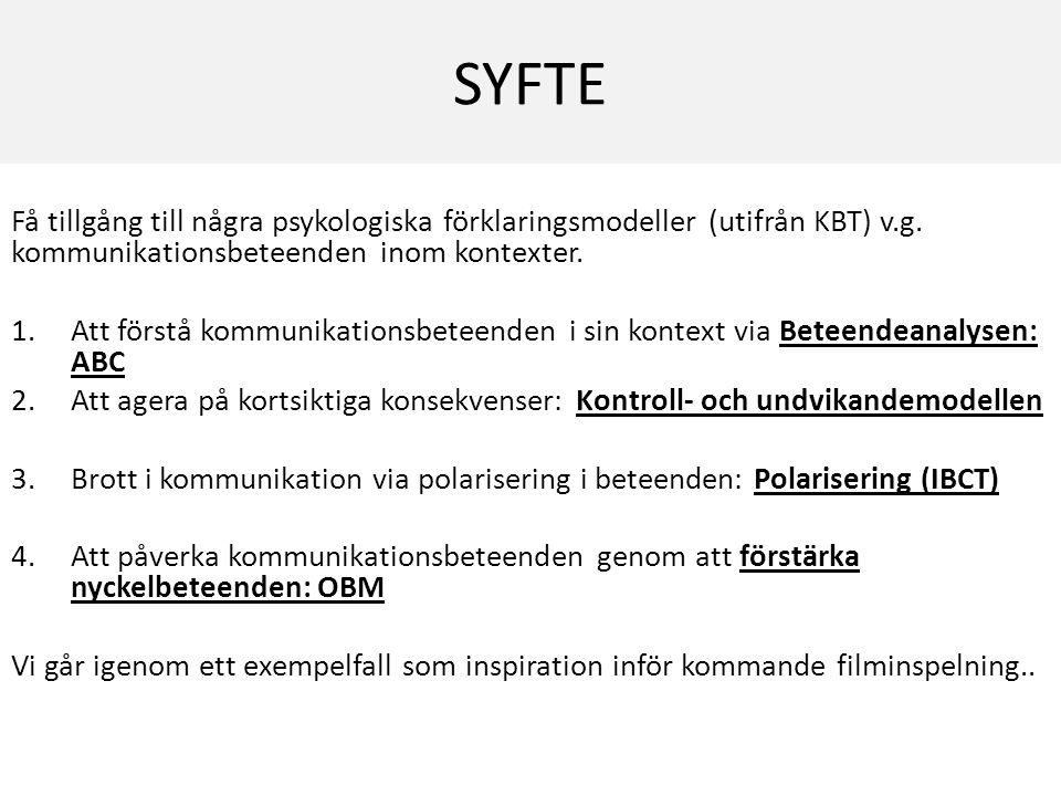 SYFTE Få tillgång till några psykologiska förklaringsmodeller (utifrån KBT) v.g. kommunikationsbeteenden inom kontexter.