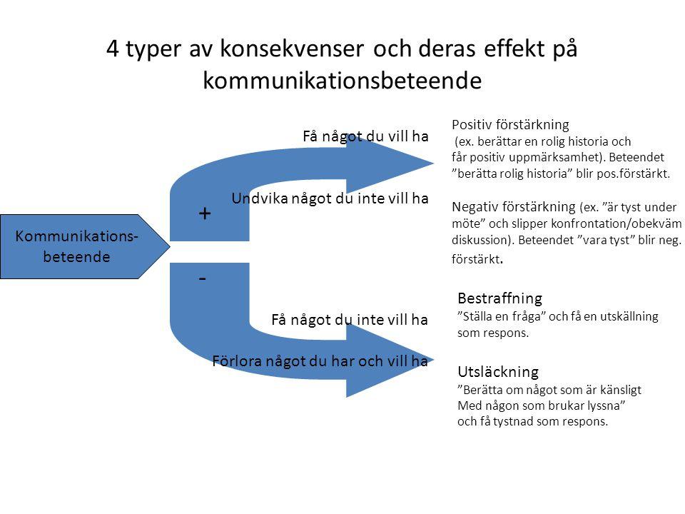 4 typer av konsekvenser och deras effekt på kommunikationsbeteende