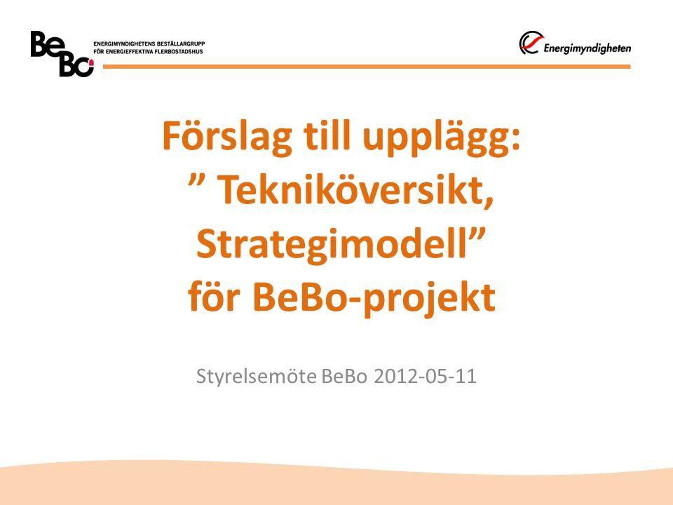 Förslag till upplägg: Tekniköversikt, Strategimodell för BeBo-projekt