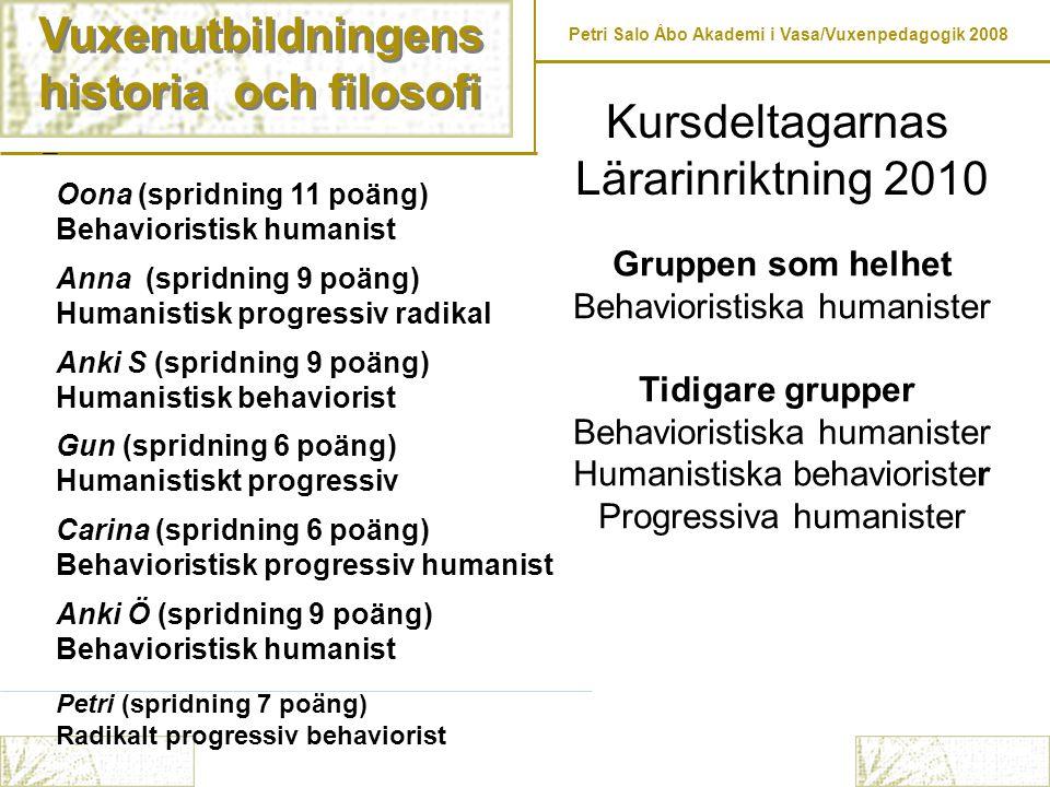 Vuxenutbildningens historia och filosofi Kursdeltagarnas